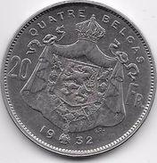 Belgique - 20 Francs 1932 - 1909-1934: Albert I