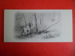 Carte Double Volet Illustrateur Dominique PIZON Chasse Chien Epagneul Et Son Oiseau Bécasse En Vol - Illustrateurs & Photographes