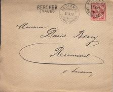 Bercher (VD), Cachet Linéaire, Régional Lausanne Bercher 31.10.1902. Lettre Avec Contenu & Cachet D'arrivée Romanel - Postmark Collection
