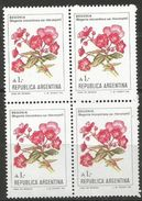Argentina  - 1985 Begonia 1a  Block Of 4  MNH **    Sc 1524 - Argentina