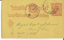 SIAM - 1893 - CARTE ENTIER Avec REPIQUAGE Au DOS De WINDSOR & Co à BANGKOK - Siam