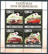 Sao Tome (2003) - Set -  /  Firefighter - Bomberos - Pompiers - Transportation - Trucks - Red Cross - Croix Rouge - Bombero