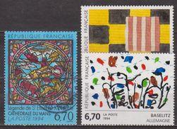 Sean Scully, Peinture - Vitrail Cathédrale Du Mans - FRANCE - Légende De Saint Etienne - Baselitz: Oeuvre Originale 1994 - France