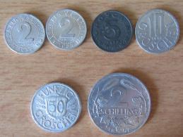 Autriche - 6 Monnaies - 2x2, 5, 10, 50 Groschen Et 2 Shilling - Zinc Et Aluminium - 1947, 1950, 1952, 1954, 1955 - TTB - Autriche