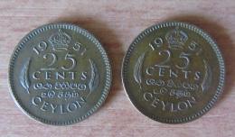 Ceylan/Ceylon - 2 Monnaies 25 Cents 1951 - Laiton De Nickel - TTB - Monnaies