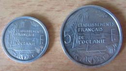 E.F.O. Etablissements Français De L'Océanie - 2 Monnaies 1 Franc 1942 Et 5 Francs 1952 - Aluminium - TTB - Monnaies