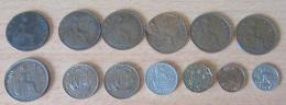 Grande-Bretagne - 7 X One Penny 1897 à 1946 - B à SUP - Half Penny 1943/1948 - Shilling 1949 - Farthing 1948, Etc... - Grande-Bretagne