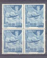 Rumänien / Romania  Michel #  1124 **   Luftpost   4-er Block - 1918-1948 Ferdinand, Carol II. & Mihai I.