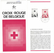 B10    Croix Rouge De Belgique  - Oblitéré Sur Folder Officiel De La Poste - 1971 - Documenti Della Posta