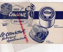 59 - LILLE- RARE BUVARD AGACHE CABLE FILS COUSU CONSCRIT- MACHINE A COUDRE-COTON A TRICOTER - Kleidung & Textil
