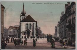 Lausanne - Place Et Eglise St. Francois - Tram, Animee - Phototypie - VD Vaud