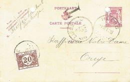 Entier Oblitération De HEERS 4.9.1941 Vers OREYE Taxée à 20c TX34 + Griffe Noire T - Postage Due