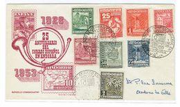 FDC ANDORRE ESPG. 1953 25 ANN. - Lettres & Documents