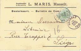 PK Publicitaire L. MARIS Boekandel Non Affranchie Taxée 5c TX3 Oblit. HASSELT Vers LIEGE 18 NOV 1910 + Griffe T - Postage Due