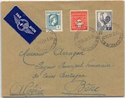 LETTRE DE BECHEREL AVEC ARC COQ ET MARIANE 1945  PAR AVION =>  L'ALGERIE  COVER - Marcophilie (Lettres)