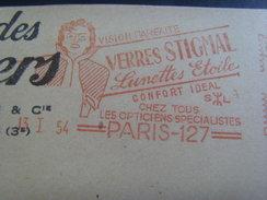 17061- EMA Ancienne (1954) Sté Des Lunetiers à Paris (Seine) Thème Lunette, Verre, Optique, Opticien - Métiers