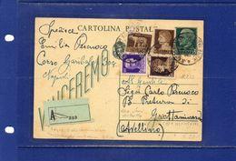 ##(YEL)-Italia 16-7-1943-  Napoli - Cartolina Postale Vinceremo  Cent.15  Assicurata (?)  Per  Grottaminarda - 1900-44 Vittorio Emanuele III