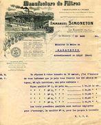 Manufacture De Filtres Emmanuel SIMONETON, Tissus à Filtrer Et à Presser, LE RAINCY ( 93) 1914 - Frankreich