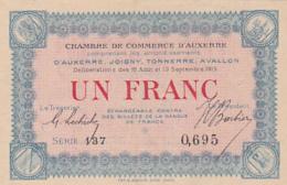 Chambre De Commerce D'Auxerre - Un Franc - 1915 - Série 137 - Sans Filigrane - Chambre De Commerce