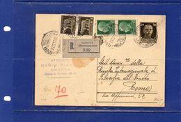 ##(YEL)-Italia 27-12-1937- Genova - Cartolina Postale     Cent.30  Raccomandata  Per   Roma - 1900-44 Vittorio Emanuele III