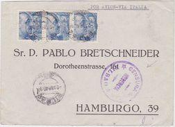 SPAIN 1940 (2.4.) COMMERC.AIRMAIL COVER BILBAO (censored) TO HAMBURG GERMANY (censored) - Spanien
