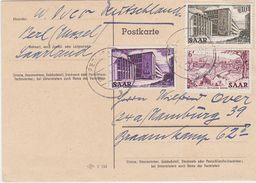 GERMANY SAAR 1954 (9.9.) PC FRANKING PERL (Mosel) TO HAMBURG (correct Rate) - Allemagne