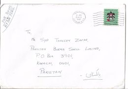 UAE Airmail Cover To Pakistan 1982 National Arms 2d Postal History Cover - Abu Dhabi