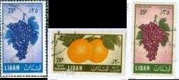 LIBANO, LIBAN, LEBANON, POSTA AEREA, AIRMAIL, FLORA, FRUTTA, FRUITS, 1955, USATI,  YT PA121-PA123 Scott,C214-C216 - Liban