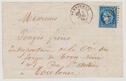 Cérès N° 60 A Position 115 D1 2éme état GC 2818 Sur Lettre 2 Scans - 1871-1875 Cérès