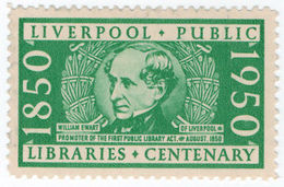 (I.B) Cinderella Collection : Liverpool Public Libraries Centenary - 1902-1951 (Kings)