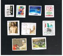 ITALIA REPUBBLICA  -   2014 LOTTO DI 9 FRANCOBOLLI DIFFERENTI (QUELLI  AUTOADESIVI SONO SU FRAMMENTO)  - USATI - 6. 1946-.. Republic
