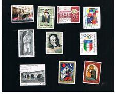 ITALIA REPUBBLICA  -   2014 LOTTO DI 10 FRANCOBOLLI DIFFERENTI (QUELLI  AUTOADESIVI SONO SU FRAMMENTO)  - USATI - 6. 1946-.. Republic