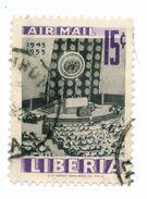 LIBERIA, POSTA AEREA, AIRMALIL, COMMEMORATIVO, NAZIONI UNITE, 1955, FRANCOBOLLI USATI  Yvert Tellier PA92 Scott C94 - Liberia