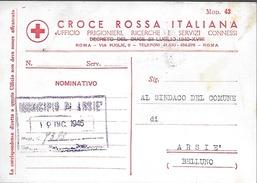 Ww2 1946 Prigionieri Di Guerra - Italia - Croce Rossa Italiana - Da Roma Per Arsiè - Prigione E Prigionieri