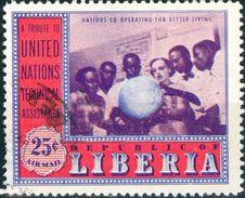 LIBERIA, POSTA AEREA, AIRMALIL, COMMEMORATIVO, NAZIONI UNITE, 1954, FRANCOBOLLI USATI  YT PA85,  Scott C81 - Liberia