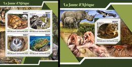 Centrafrica 2017, Animals, Rhino, Monkey, 4val In BF +BF - Rhinozerosse