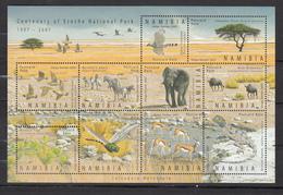 Namibia 2007,10V In Block,birds,vogels,tree,boom.zebra.elephant.olifant,wildebeest,insect,agama,MNH/Postfris,(L3228) - Oiseaux