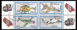 """BF147 - REPUBBLICA 1982 , Blocco Usato """"costruzioni Aeronautiche"""" Con Appendici Laterali ! - 6. 1946-.. Repubblica"""