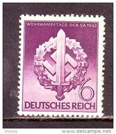 GERMANIA REICH DEUTSCHLAND GERMANY1942 GTA SPORTIVA  Mi 818    MNH** - Unused Stamps