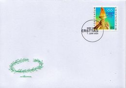 Liechtenstein Stamp On FDC - Summer 2004: Athens
