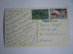 NOUVELLES HÉBRIDES NEW HEBRIDES - CP - POSTCARD - IRIRIKI ISLAND AND VILA  2 STAMPS  1973 VANUATU - Brieven En Documenten