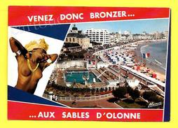 """CPSM 85 """" Venez Donc Bronzer  AUX SABLES D'OLONNE """" Femme Aux Sein Nu - Nus Adultes (< 1960)"""