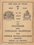 Funérailles Combattant Guerre WwII Bouillon Dachy Dasnois Brasseur Lépinois Dorgeo Bauduin Richard Adam - Obituary Notices