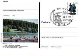 "BRD Bildpostkarte 100 Pf. WSt.Goethe-Schiller-Denkmal P158 1997/14 ""Waldecker Land - Diemel-Stausee"" SST 24.5.98 BERLIN - [7] Repubblica Federale"