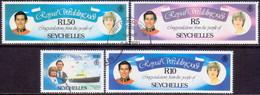 SEYCHELLES 1981 SG #506//10 Part Set Used 4 Stamps Of 6 Royal Wedding - Seychelles (1976-...)