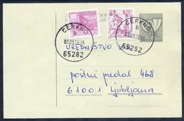 YUGOSLAVIA 1987 Posthorn 70 D. Stationery Card Used With Additional Franking.  Michel  P191 - Ganzsachen