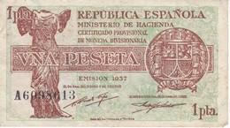 BILLETE DE ESPAÑA DE 1 PTA DEL AÑO 1937  EN CALIDAD MBC (VF)  SERIE A  (BANKNOTE) - 1-2 Pesetas