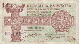 BILLETE DE ESPAÑA DE 1 PTA DEL AÑO 1937  EN CALIDAD MBC (VF)  SERIE B  (BANKNOTE) - 1-2 Pesetas