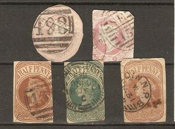 Grande-Bretagne - Victoria - Entiers Postaux - Petit Lot De 5 Sur Fragments - Postwaardestukken