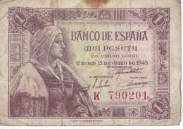 BILLETE DE ESPAÑA DE 1 PTA DEL 15/06/1945 ISABEL LA CATÓLICA SERIE K (BANK NOTE) - [ 3] 1936-1975 : Regency Of Franco